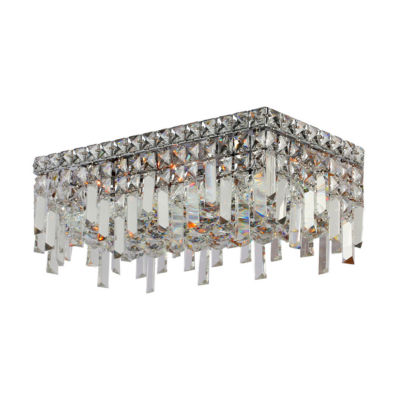 "Cascade Collection 4 Light 7.5"" Rectangle Chrome Finish and Clear Crystal Flush Mount Ceiling Light"""