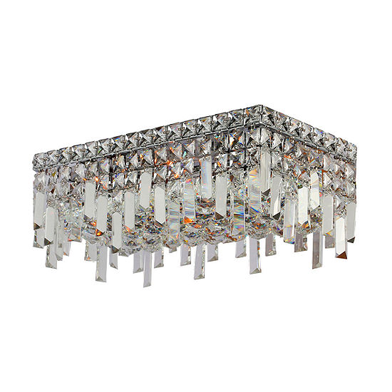 "Cascade Collection 4 Light 7.5"" Rectangle Chrome Finish and Clear Crystal Flush Mount Ceiling Light"
