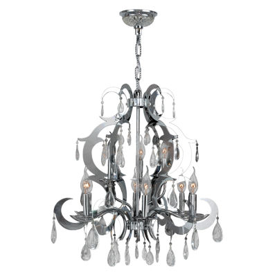 Henna Collection 9 Light 2-Tier Chrome Finish and Clear Crystal Chandelier