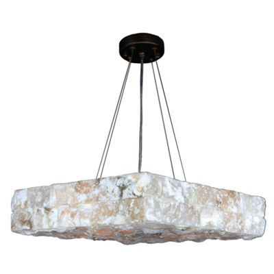 "Pompeii Collection 5 Light Flemish Brass Finish and Natural Quartz Square Pendant 18"" L x 18"" W x 4""H Medium"