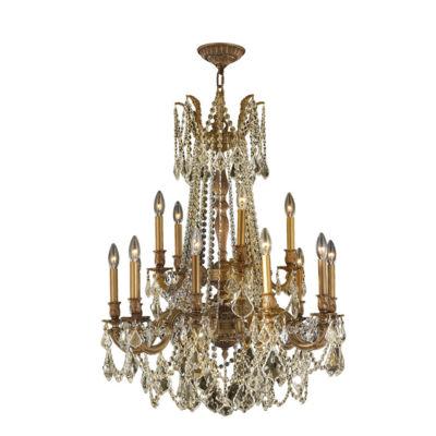 Windsor Collection 15 Light 2-Tier Antique Bronze Finish and Golden Teak Crystal Chandelier