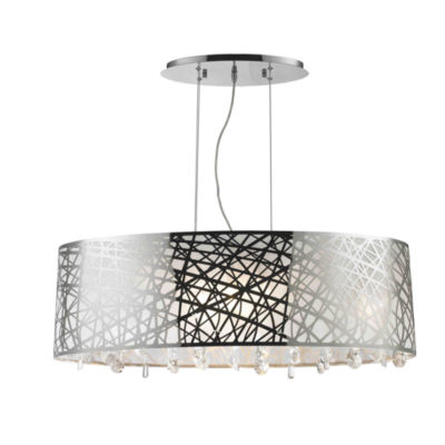 Julie Collection 8 Light Chrome Finish Oval Drum Shade with Clear Crystal Chandelier