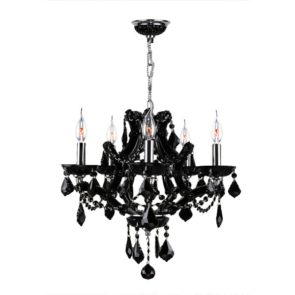 Lyre Collection 5 Light Chrome Finish and Crystal Chandelier