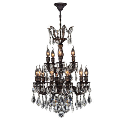 Versailles Collection 15 Light 2-Tier Flemish Brass Finish and Clear Crystal Chandelier