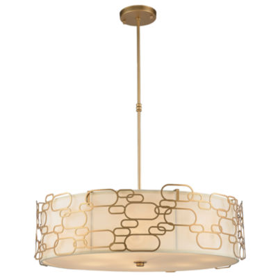 Montauk Collection 12 Light Matte Finish with Ivory Linen Shade Round Pendant