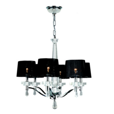 Gatsby Collection 6 Light Arm Chrome Finish and Clear Crystal Chandelier with Black String Drum Shade