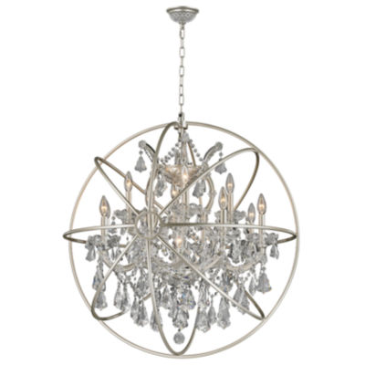 Armillary Collection 13 Light Matte Nickel Finishand Clear Crystal Foucault's Orb Chandelier