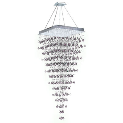 Icicle Collection 10 Light Chrome Finish and Clear Crystal Square Chandelier