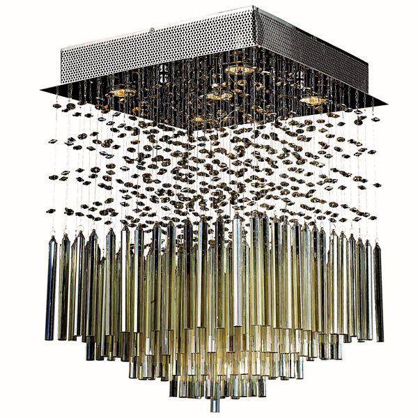 "Torrent Collection 5 Light 16"" Square Chrome Finish and Golden Teak Crystal Flush Mount Ceiling Light"