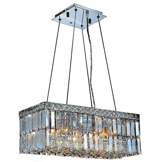 Cascade Collection 4 Light Chrome Finish and Clear Crystal Rectangle Chandelier
