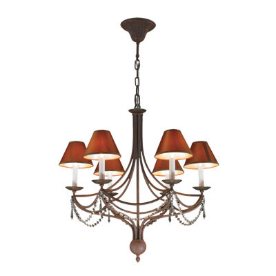 Venice Collection 6 Light Flemish Brass Finish with Cognac Linen Shades Crystal Chandelier