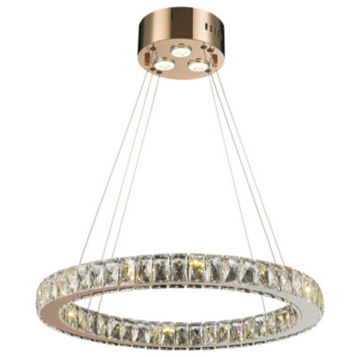 Galaxy 15 LED Light Rose Finish and Clear Crystal Circular Ring Chandelier Large