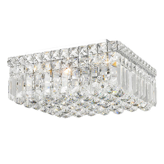 """Cascade Collection 4 Light 5.5"""" Square Chrome Finish and Clear Crystal Flush Mount Ceiling Light"""