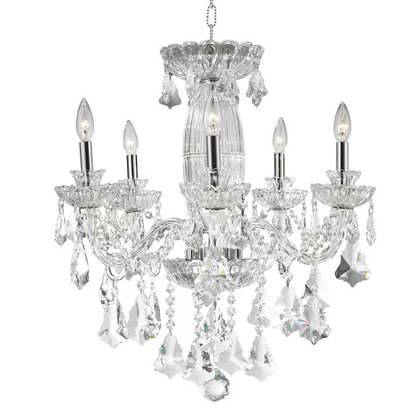 Olde World Collection 5 Light Chrome Finish Crystal Chandelier