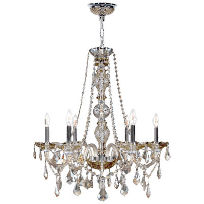 Provence Collection 6 Light Chrome Finish and Crystal Chandelier