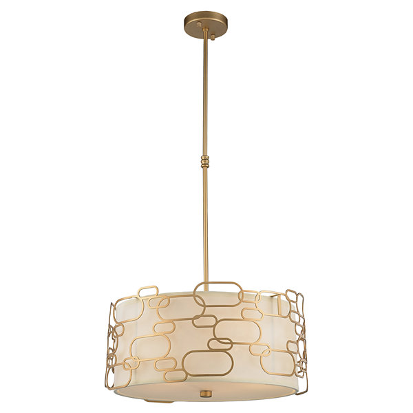 Montauk Collection 5 Light Matte Finish with Ivory Linen Shade Round Pendant
