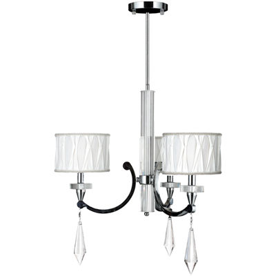 Cutlass Collection 3 Light Arm Chrome Finish and Clear Crystal Chandelier with White Fabric Shade