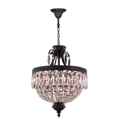 Enfield Collection 6 Light Mini Flemish Brass Finish and Clear Crystal Chandelier