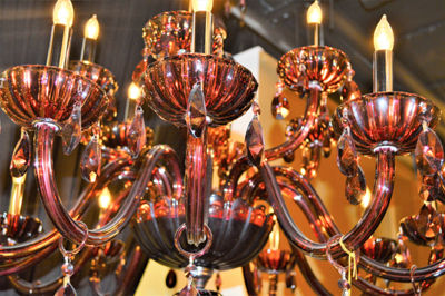 "Carnivale Collection 18 Light Chrome Finish and Cranberry Red Crystal Chandelier Two 2 Tier 36"" D x39"" H Large"