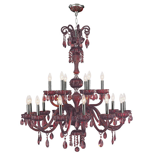 """Carnivale Collection 18 Light Chrome Finish and Cranberry Red Crystal Chandelier Two 2 Tier 36"""" D x39"""" H Large"""