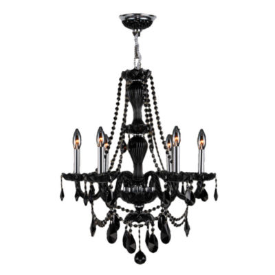 Provence Collection 6 Light Chrome Finish and Black Crystal Chandelier