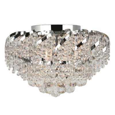 Empire Collection 6 Light Round Clear Crystal Flush Mount Ceiling Light