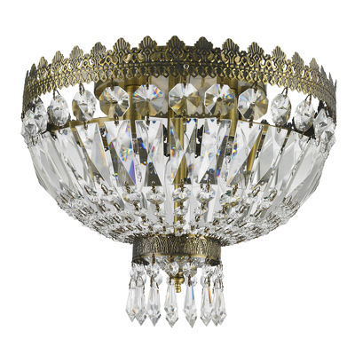 Metropolitan Collection 3 Light Antique Bronze Finish Crystal Flush Mount Ceiling Light