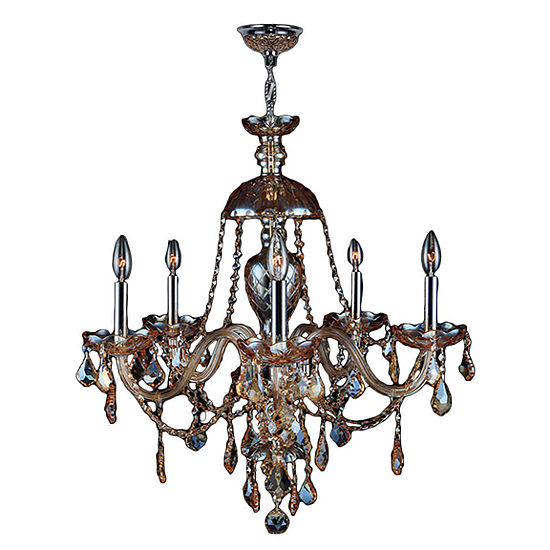 Provence Collection 5 Light Chrome Finish and Crystal Chandelier - Large