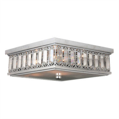 Athens Collection 6 Light Chrome Finish and Clear Crystal Flush Mount Ceiling Light
