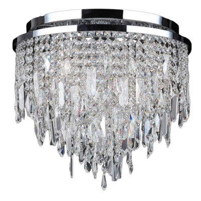 Tempest Collection 5 Light Chrome Finish Crystal Flush Mount Ceiling Light