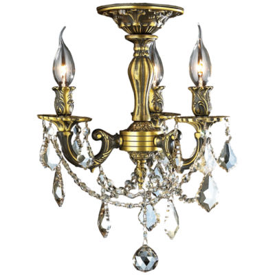 Windsor Collection 3 Light French Pendalogue Golden Teak Crystal Semi Flush Mount Ceiling Light