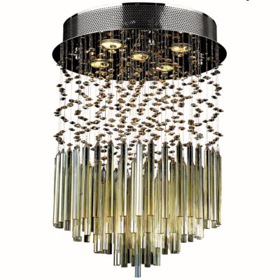 "Torrent Collection 5 Light 16"" Round Chrome Finish and Golden Teak Crystal Flush Mount Ceiling Light"