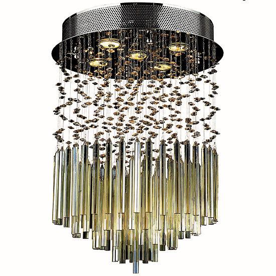 "Torrent Collection 5 Light 16"" Round Chrome Finish and Golden Teak Crystal Flush Mount Ceiling Light"
