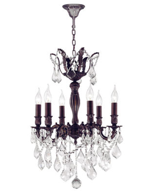 Versailles Collection 6 Light Flemish Brass Finish and Clear Crystal Chandelier
