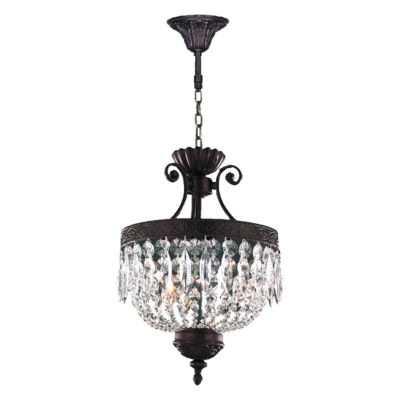 Enfield Collection 3 Light Flemish Brass Finish and Clear Crystal Pendant