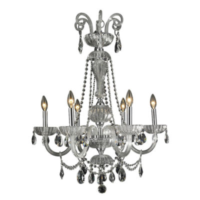 """Carnivale Collection 6 Light Chrome Finish and Clear Crystal Chandelier 25"""" D x 34"""" H Large"""