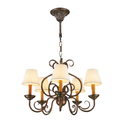 Savannah Collection 5 Light Antique Bronze Finish with Natural Shades Linen Chandelier