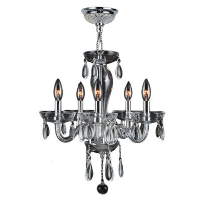 Gatsby Collection 5 Light Mini Chrome Finish and Blown Glass Chandelier