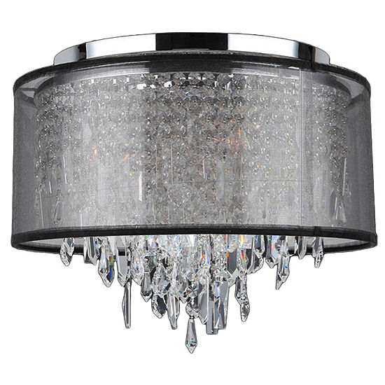 Tempest Collection 5 Light Chrome Finish Crystal Flush Mount Ceiling Light with Black Organza Shade