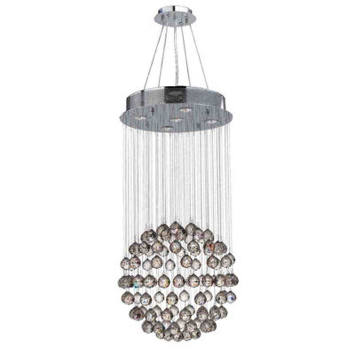 Saturn Collection 5 Light Chrome Finish and Clear Crystal Galaxy Chandelier