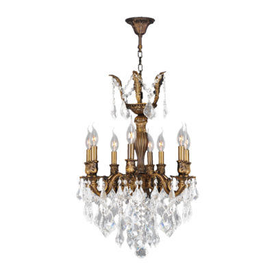 Versailles Collection 8 Light Antique Bronze Finish and Crystal Chandelier