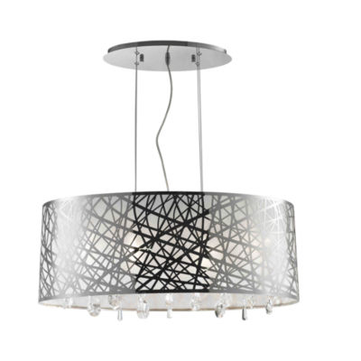 Julie Collection 6 Light Chrome Finish Oval Drum Shade with Clear Crystal Chandelier