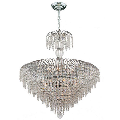 Empire Collection 14 Light Round Chrome Finish Crystal Chandelier