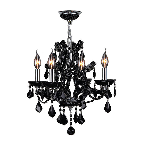 Lyre Collection 4 Light Chrome Finish and Crystal Chandelier
