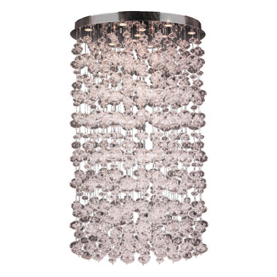 Effervescence Collection 13 Light Halogen Chrome Finish Blown Glass Bubble Flush Mount Ceiling Light