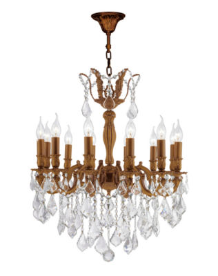 Versailles Collection 12 Light French Gold Finishand Clear Crystal Chandelier