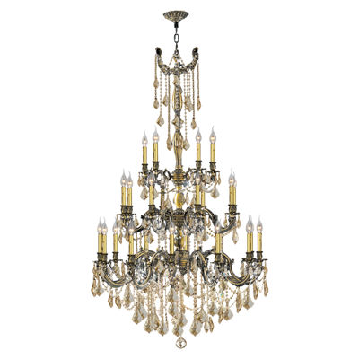 Windsor Collection 25 Light 3-Tier Antique Bronze Finish and Golden Teak Crystal Chandelier