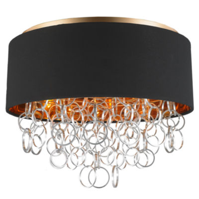 Catena Collection 5 Light Matte Finish with BlackLinen Drum Shade Flush Mount Ceiling Light