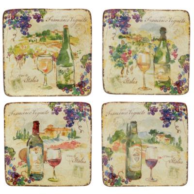 Certified International Vino 4-pc. Appetizer Plate