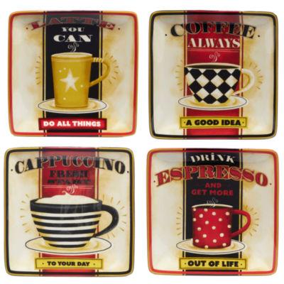 Certified International Coffee Always 4-pc. Appetizer Plate